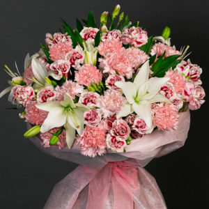Mothers day flowers for mom - white and pink carnations