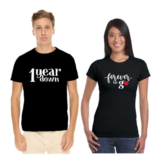 1 Year Down Forever To Go Couple T-shirt