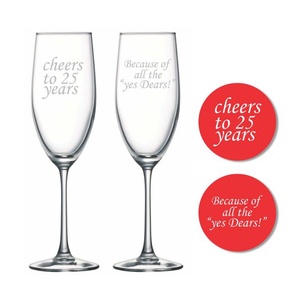Cheers 25th Wedding Anniversary Champagne Flutes