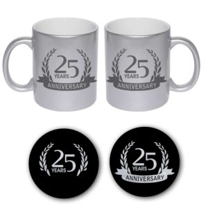 25th Happy Silver Anniversary Couple Coffee Mugs Coaster