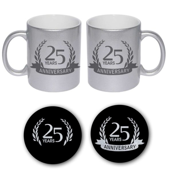 25th Happy Silver Anniversary Couple Coffee Mugs