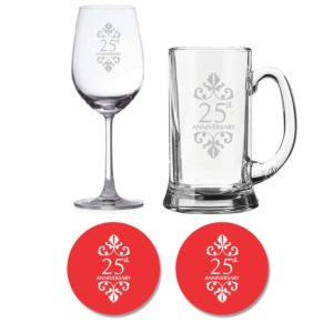25th Marriage Anniversary beer wine glasses