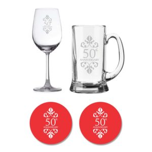50th Anniversary Beer Wine Glasses (2)