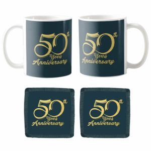 50th Golden Jubilee Anniversary Couple Coffee Mugs Coaster