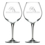Aesthetic Monogram Personalized Engraved Couple Wine Glass
