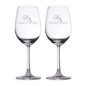 Aesthetic Monogram Personalized Engraved Couple Wine Glasses