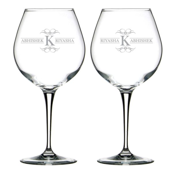 Aesthetic Personalized Engraved Couple Wine Glass