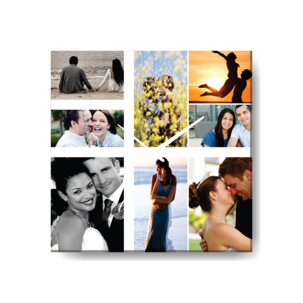 Artistic Photo Collage Square Clock with 8 Photos