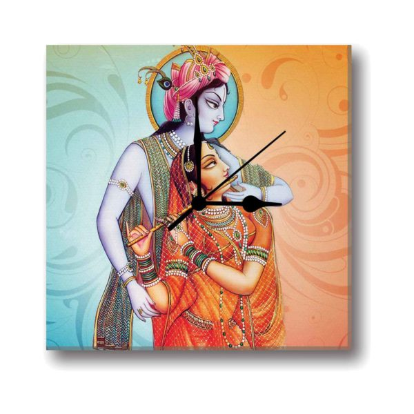 Artsy Radha Krishna Canvas Wall Clock