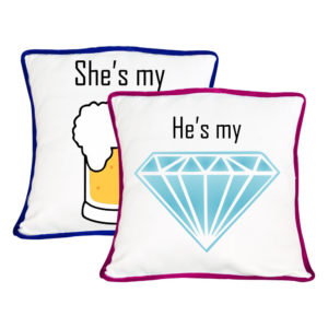 Beer And Diamond Couple Cushion Cover- Set of 2