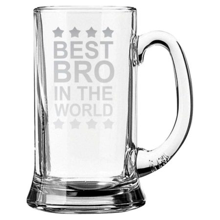 Engraved Best Brother in the World Beer Mug