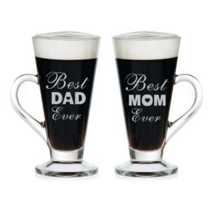 Best Mom Dad Ever Engraved Tea Mugs Set of 2