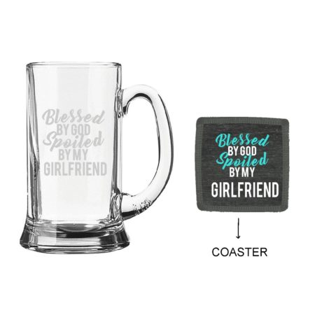 Engraved Blessed By God Spoiled By My Girlfriend Beer Mug