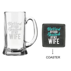 Blessed By God Spoiled By My Wife Beer Mug With Coaster