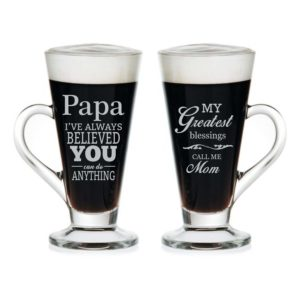 Blissful Mom Dad Engraved Tea Mugs Set of 2