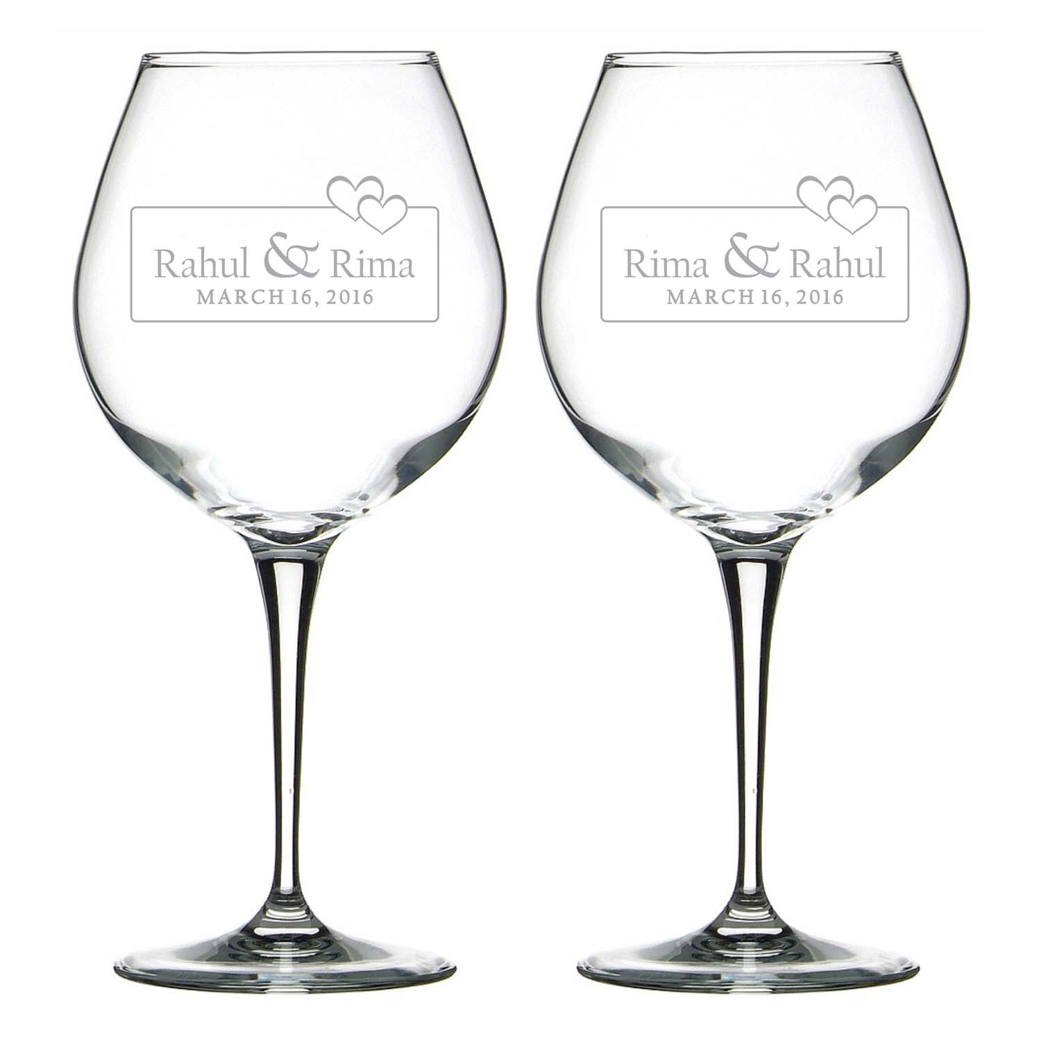 Bonded by Love Personalized Engraved Wine Glass