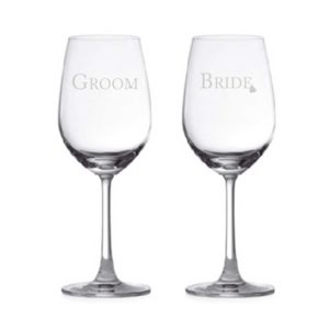 Bride & Groom Couple Wine Glasses