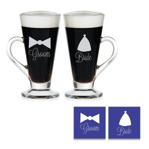 Engraved Bride and Groom Tea Mugs