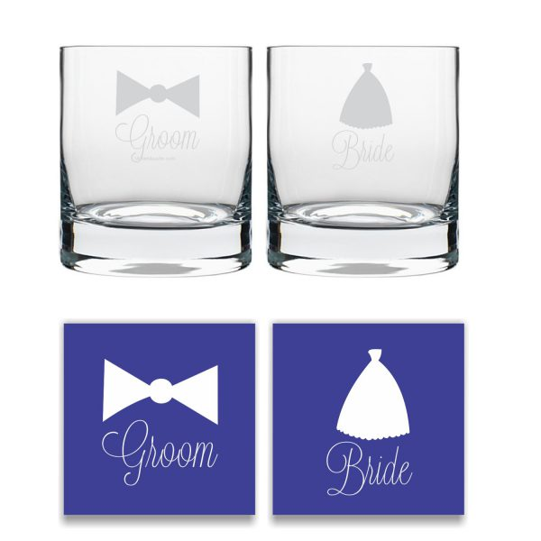 Engraved Bride And Groom Whiskey Glasses