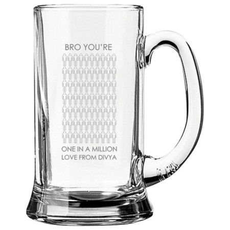 Engraved One in a Million Brother Beer Mug