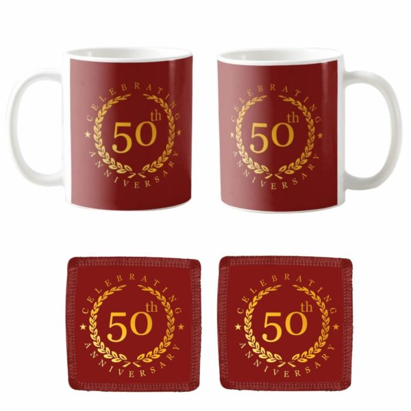 Celebrating 50th Golden Anniversary Couple Coffee Mugs