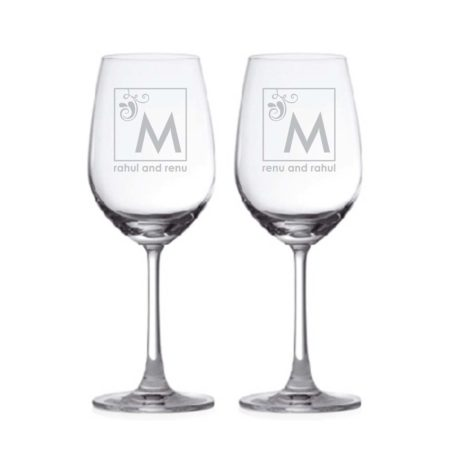 Charming Monogram Personalized Engraved Wine Glass