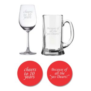 Cheers 10th Anniversary Beer wine glass