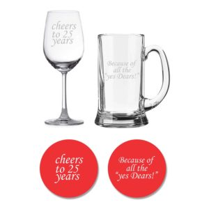 Cheers 25th Anniversary Beer Wine Glasses