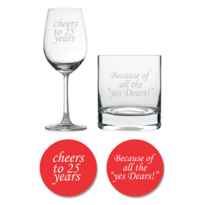 Cheers 25th Anniversary Whiskey Wine Glasses With Coaster