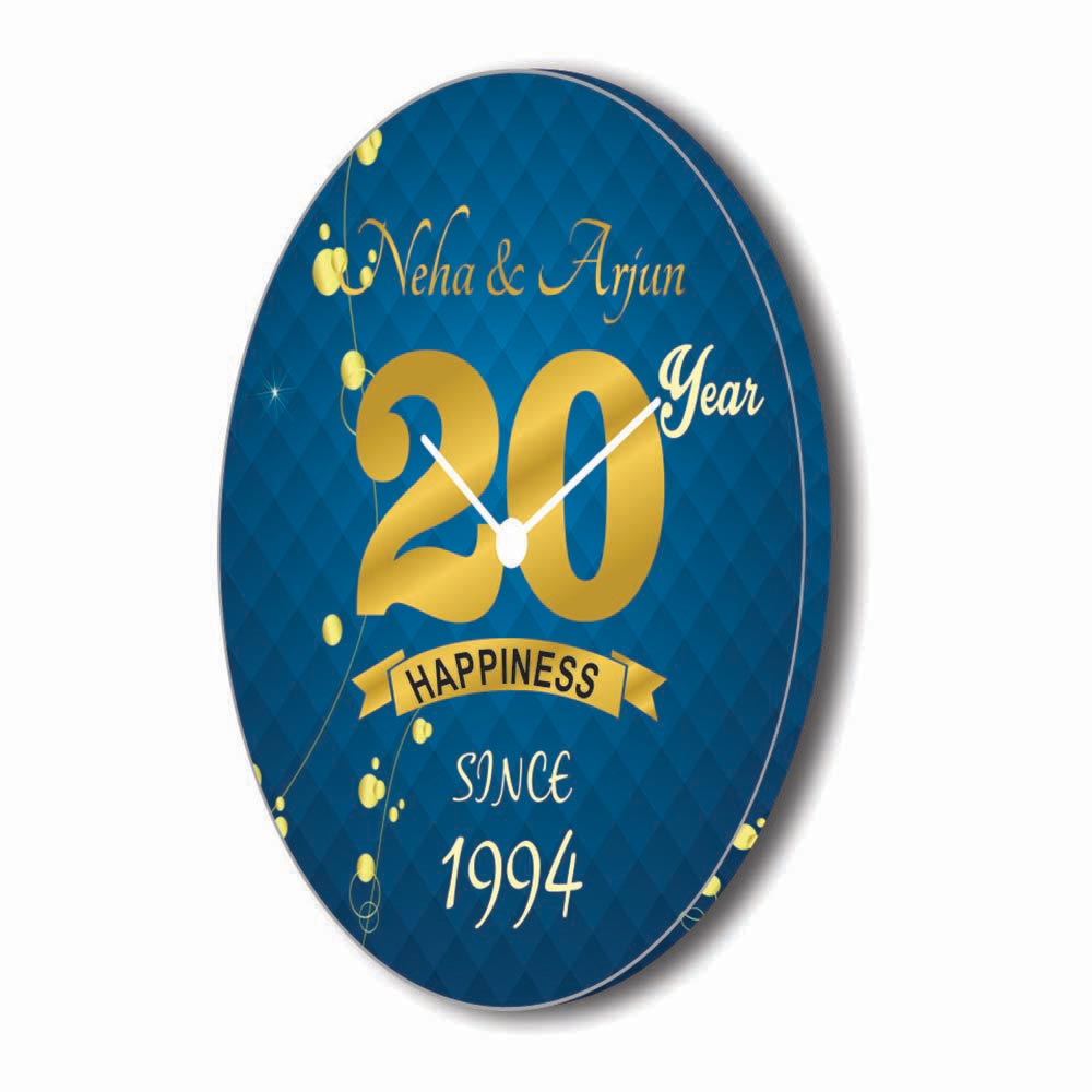 Custom Happy 20th Anniversary Gift Canvas Wall Clock