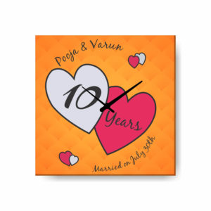 Custom Hearts in Love 10th Anniversary Canvas Wall Clock