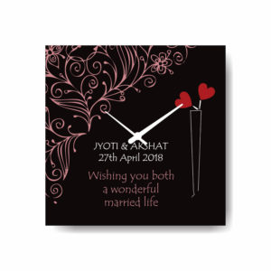 Custom Red Hearts Wedding Canvas Wall clock