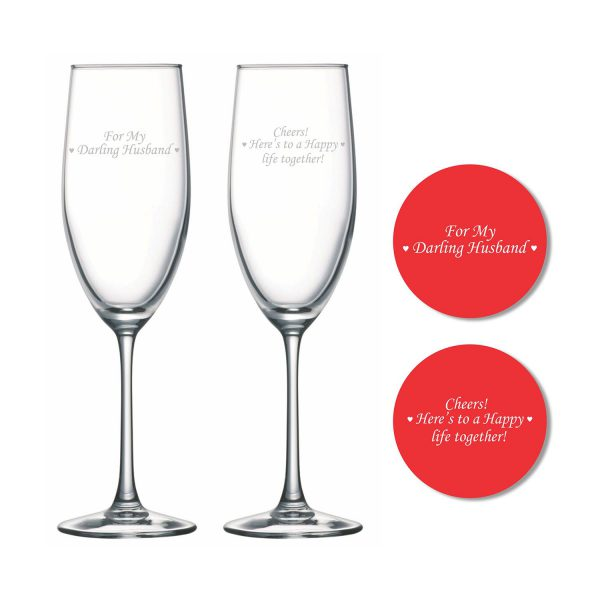Darling Husband Happy life Together Champagne Flutes with Coaster