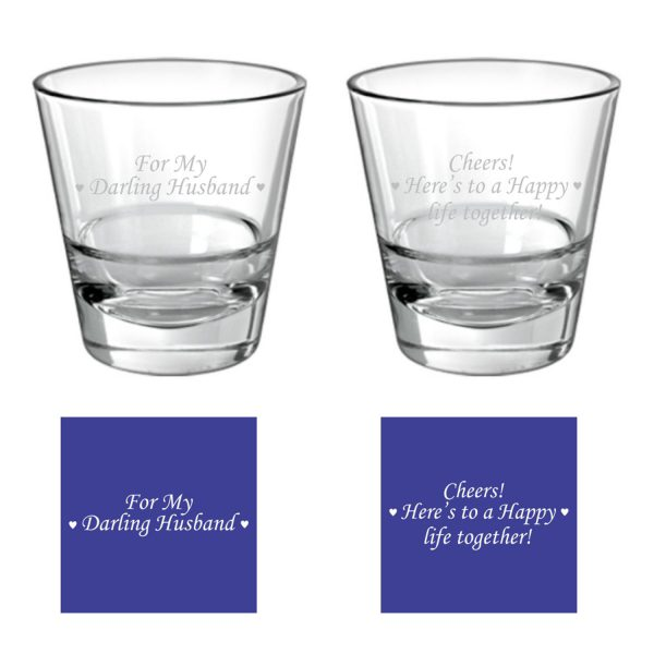 Darling Husband Happy life Together Conical Whiskey Glassess