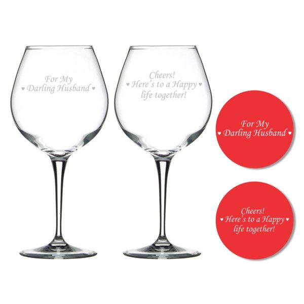 Darling Husband Happy life Together Wine Glasses