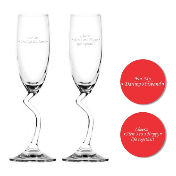 Darling Husband Happy life Together Salsa Champagne Flutes with Coaster