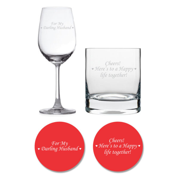 Darling Husband Happy life Together Whiskey Wine Glasses