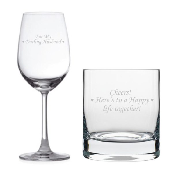 Darling Husband Happy life Together Whiskey Wine Glass