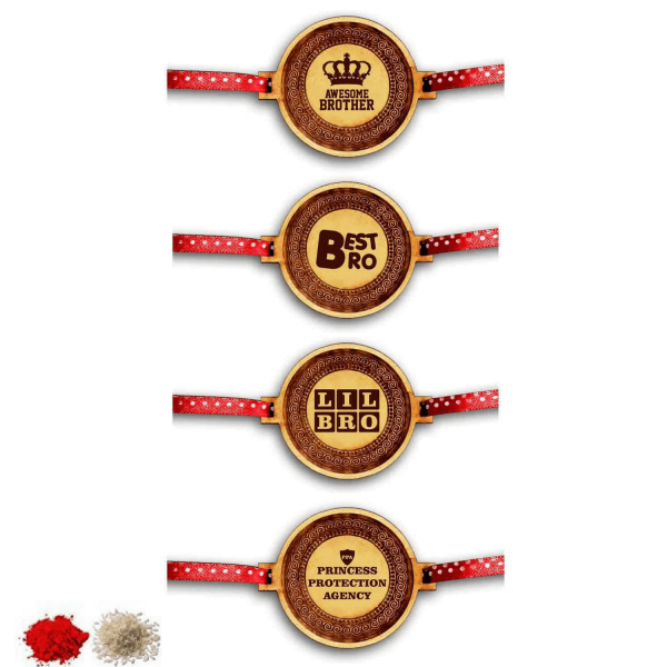 Engraved Best Awesome Little Brothers Rakhi Set of 4