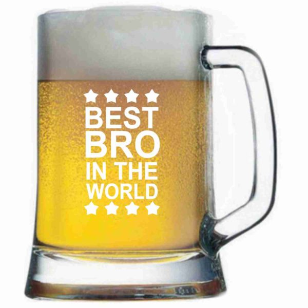 Engraved Best Brother in the World Pub Tempo Beer Mug