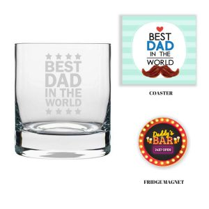 Engraved Best Dad in the World Whiskey Glass with Fridge Magnet