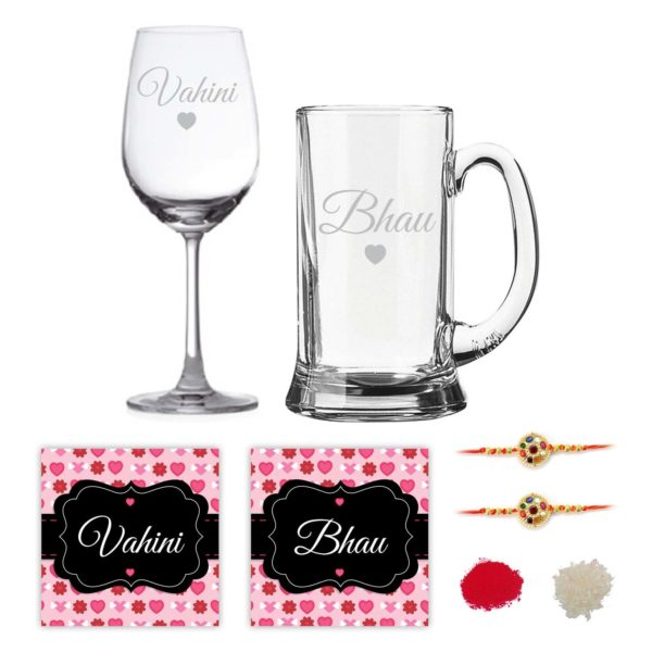 Engraved Marathi Bhaiya Bhabhi Bhau Vahini Beer Mug And Wine Glass