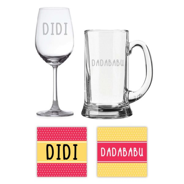 Engraved Bengali Didi Dadababu Didi Jiju Whiskey and Wine Glasses