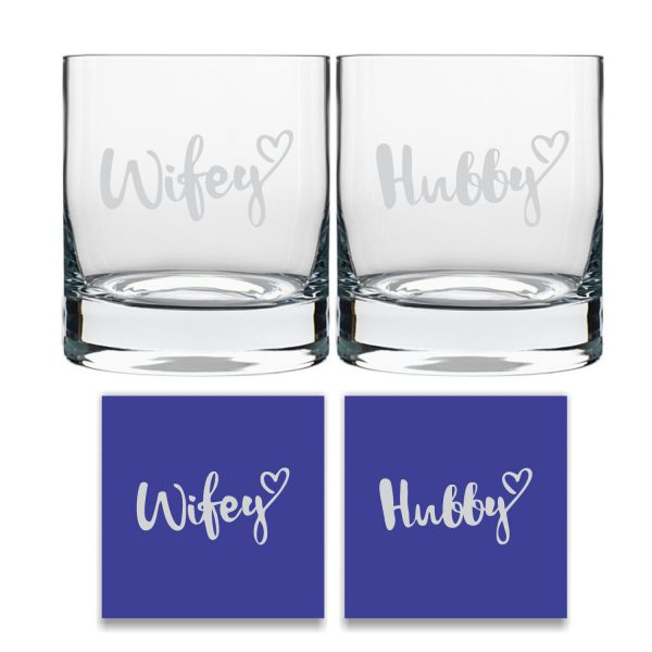 Engraved Hubby Wifey Whiskey Glasses