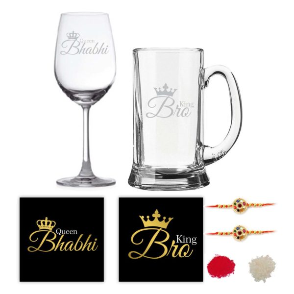 Engraved King Bro Queen Bhabhi Beer Mug And Wine Glass