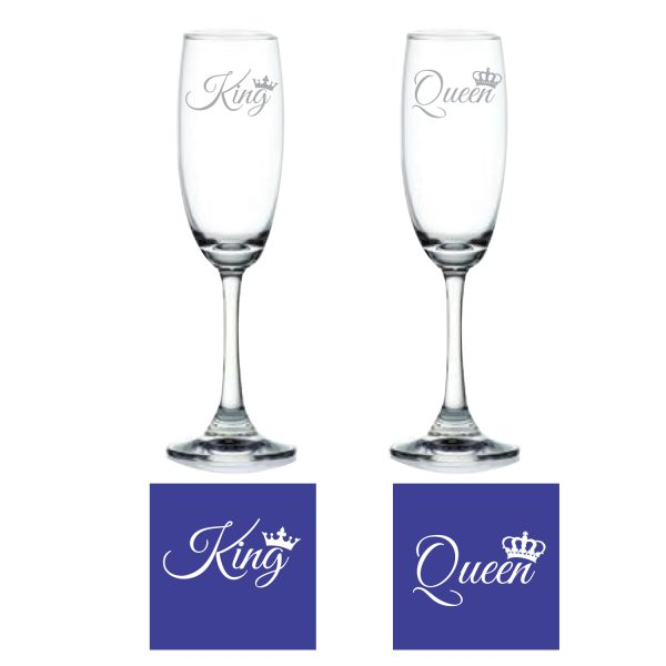 Engraved King Queen Champagne Flutes