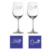 Engraved King Queen Wine Glasses