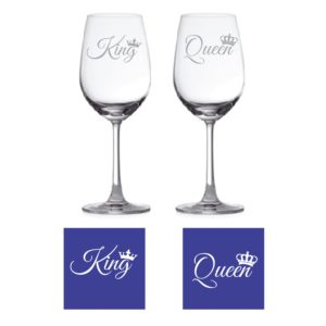 Engraved King Queen Wine Glass KH4752
