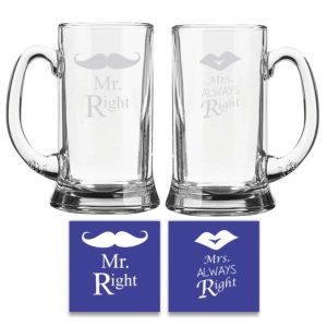 Engraved Mr Right Mrs Always Right Beer Mug Set KH4745