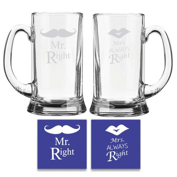 Engraved Mr Right Mrs Always Right Beer Mug